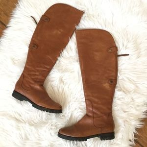 Cole Haan Tan Leather Over The Knee Riding Boots